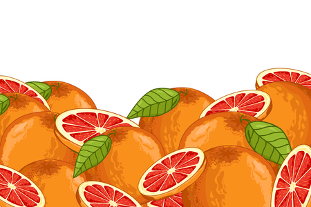 Grapefruit isoliert auf weißem Hintergrund. Grapefruit Zusammensetzung, Pflanzen und Blätter. Bio-Lebensmittel. Grapefruit-Vektor.