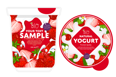yogur: Yogurt Splash de fresa. Spash la leche, el yogur de fresa. Yogur de la fresa de embalaje plantilla de diseño.