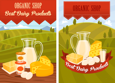 dairy products: Dairy products on wooden table, dairy products poster.