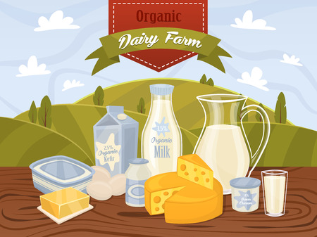 cheese: Dairy products on wooden table, dairy food. Different vector dairy products. Milk products, cheese, eggs, cream and other dairy food. Farmer food on background fields. Jug of milk and butter, yogurt.