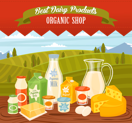dairy cows: Dairy products on wooden table, dairy food. Different vector dairy products. Milk products, cheese, eggs, cream and other dairy food. Farmer food on background fields. Jug of milk and butter, yogurt.
