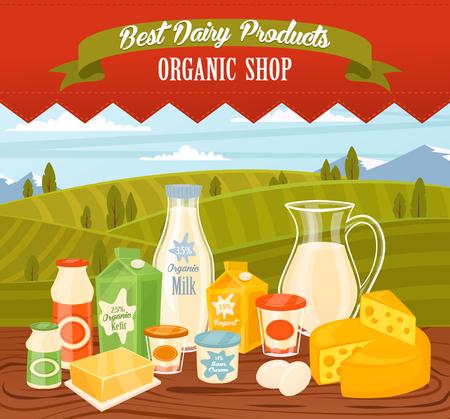 leche y derivados: productos lácteos en la mesa de madera, alimentos lácteos. Los diferentes productos vector de lácteos. Los productos lácteos, queso, huevos, nata y otros productos lácteos. alimentos granjero en campos de fondo. Jarra de leche y mantequilla, yogur.