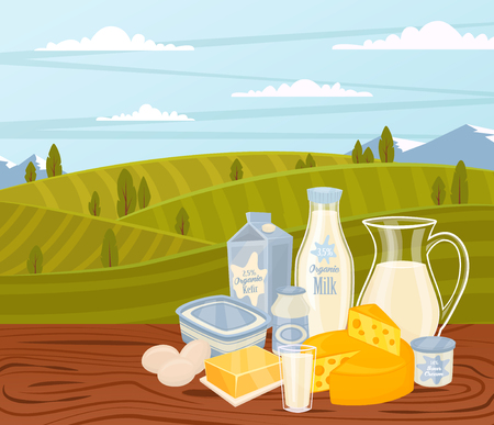 cream cheese: Dairy products on wooden table, dairy food. Different vector dairy products. Milk products, cheese, eggs, cream and other dairy food. Farmer food on background fields. Jug of milk and butter, yogurt.