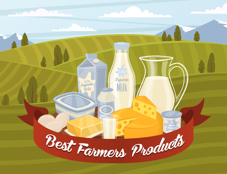 cream cheese: Dairy products on fields background. Different vector dairy products. Milk products, cheese, eggs, cream and other dairy food. Farmer food on background fields. Jug of milk and butter, yogurt. Illustration
