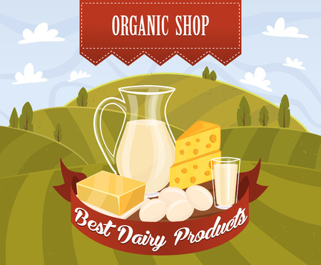 Dairy products, organic food. Different vector dairy products on field background. Milk products, cheese, eggs, cream and other dairy. Farmer food, natural dairy products. Jug of milk and butter. Illustration