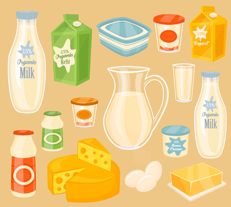 Latticini. Icona di vettore di diversi prodotti lattiero-caseari. Latte, yogurt, kefir, burro, uova e formaggio. Gli alimenti biologici, gli agricoltori cibo. Illustrazione vettoriale in stile cartone animato.