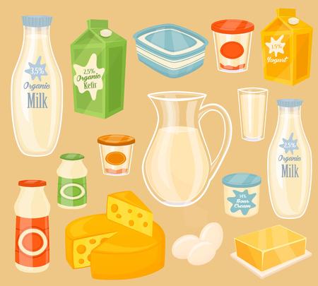 leche y derivados: Productos lácteos. icono del vector de diversos productos lácteos. Leche, yogur, kéfir, mantequilla, huevo y queso. Los alimentos orgánicos, los agricultores de alimentos. Ilustración del vector en estilo de dibujos animados. Vectores