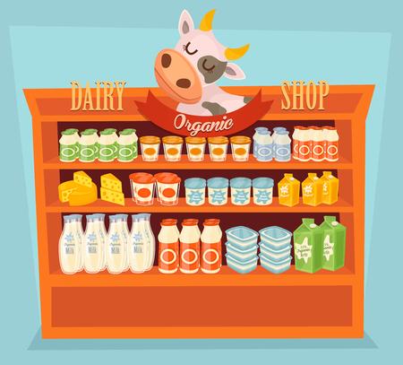 Mensola del supermercato, prodotti lattiero-caseari. Cartone del latte, yogurt e altri prodotti lattiero-caseari a mensola del supermercato. Alimenti Ripiano, Scaffale Dairy. Alimenti biologici, negozio biologico. Gli agricoltori alimentari, naturali Prodotti di latte. Dairy Food Vector