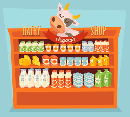 dairy cow: Supermarket Shelf, Dairy Products. Milk Carton, Yogurt and other Dairy on Supermarket Shelf. Food Shelf, Dairy Shelf. Organic Food, Organic Shop. Farmers Food, Natural Milk Products. Dairy Food Vector Illustration