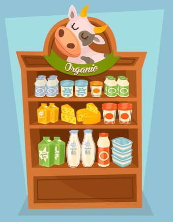 milk products: Dairy products on supermarket shelf, dairy food. Different vector dairy products. Milk products, cream and other dairy food. Farmer food on the shelf.