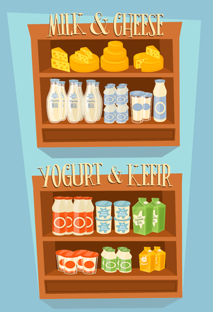 food shelf: Supermarket Shelf, Dairy Products. Milk Carton, Yogurt and other Dairy on Supermarket Shelf. Food Shelf, Dairy Shelf. Organic Food, Organic Shop. Farmers Food, Natural Milk Products. Dairy Food Vector Illustration