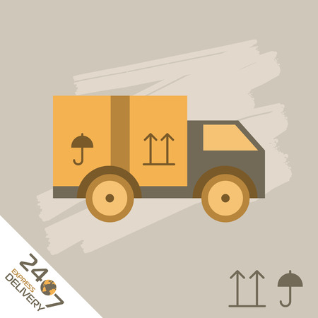 trucking: Express Delivery Vector Truck. Elements of Trucking . Fast Shipping Service Van. Icon Delivery vector. Express Delivery of Goods. Delivery Service, Cargo Delivery.