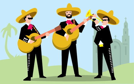 Mariachi Band in Sombrero with Guitar. Mexican Music Band. Vector illustration. The music group in traditional costumes of Mexico.