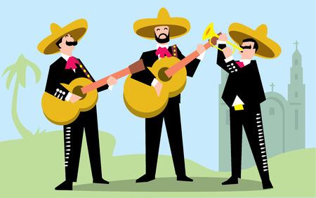 Mariachi Band en Sombrero avec la guitare. Mexican Band Music. Vector illustration. Le groupe de musique en costumes traditionnels du Mexique.
