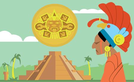 enchiladas: Pyramid Maya, chief of the tribe Maya. Vector illustration Mayan. Illustration