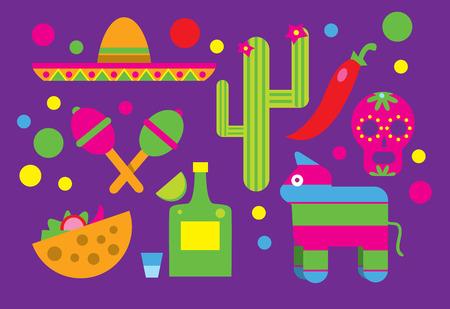 Mexico, Mexique vecteur icône. Viva Mexico. Cactus, Sombrero, Maracas, Tequila. Icône alimentaire mexicain, crâne mexicain. Taco icône.