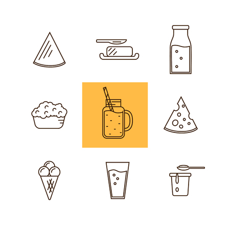 dairy product: Dairy Product Icon Set. Milk, Cheese, Ice Cream, Butter and other Dairy Product. Different Milk Product in line style design. Dairy icon on white background. Isolated dairy products icon.