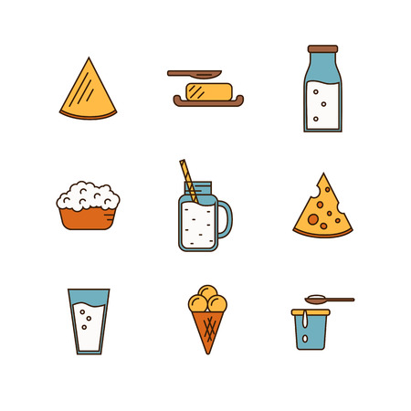 cream cheese: Dairy Product Icon Set. Milk, Cheese, Ice Cream, Butter and other Dairy Product. Different Milk Product in line style design. Dairy icon on white background. Isolated dairy products icon.