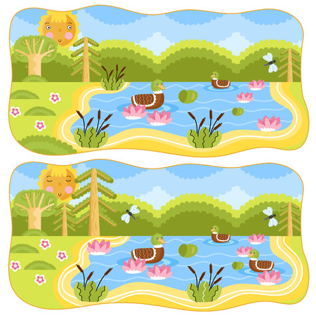 Find differences in illustration. Cartoon illustration fo kids. Spot difference. Educational game for children, funny game. Childrens logic game.