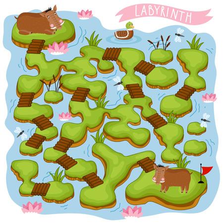 Doolhof vector, doolhof spel. Cartoon Maze for Kids. Educatief spel voor kinderen, grappig spel. Vector Labyrinth. Childrens logica spel. Help de held om een uitweg te vinden. Vector Illustratie