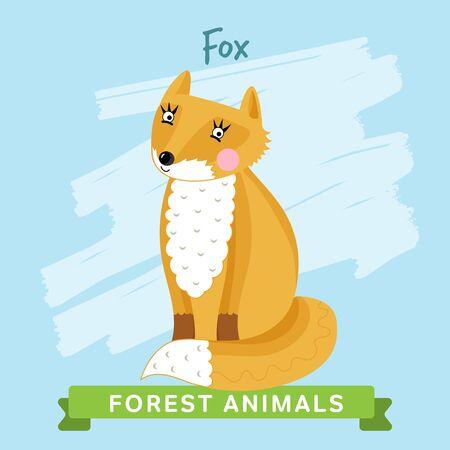 zorro: Fox trama. Los animales salvajes y los bosques. Personajes de dibujos animados ilustración. Animal divertido.