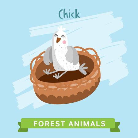 chik: Bird chik raster. Wild and forest animals. Cartoon characters illustration. Funny Animal. Stock Photo