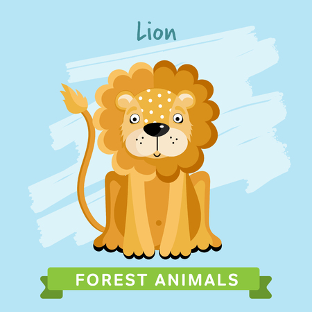 lion cartoon: Lion raster. Wild and forest animals. Cartoon characters illustration. Funny Animal. Stock Photo