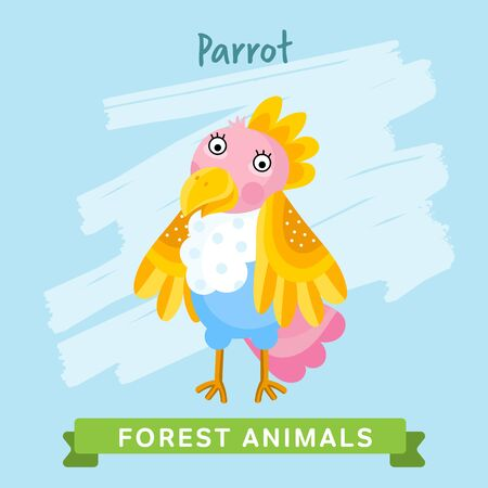 Parrot raster. Wild and forest animals. Cartoon characters illustration. Funny Animal.