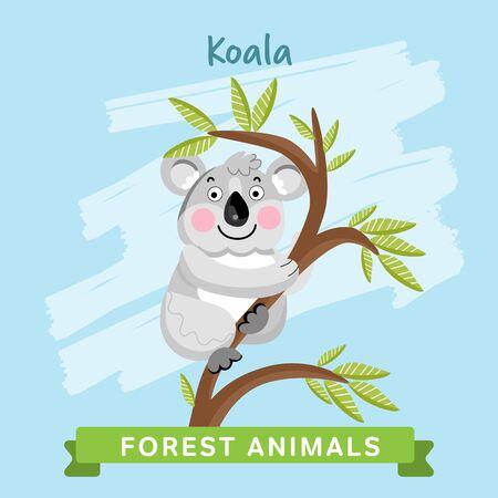 Koala raster. Wilde en dieren in het bos. Stripfiguren illustratie. Funny Animal.