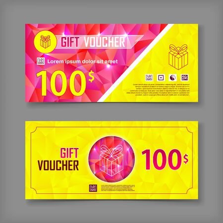 gift paper: Gift voucher template. Back and front side of the coupon.Vector illustration.