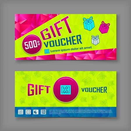 restaurant bill: Gift voucher template. Back and front side of the coupon.Vector illustration.