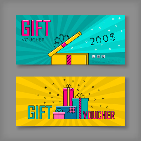 Gift voucher template. Back and front side of the coupon.Vector illustration.