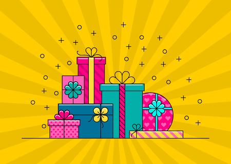 sorpresa: Cajas de regalo. Gran pila de cajas de regalo de colores envueltos. ilustraci�n vectorial de estilo plano.