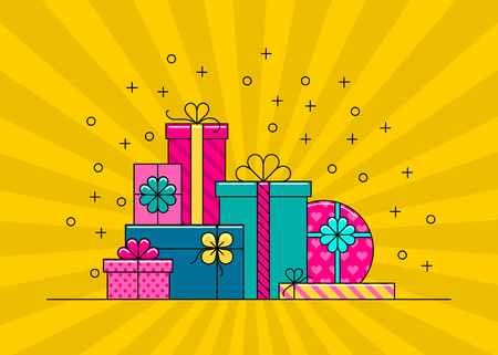 Gift boxes. Big pile of colorful wrapped gift boxes. Flat style vector illustration. Çizim