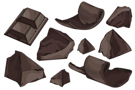 virutas de chocolate y pedazos fijados en el fondo blanco