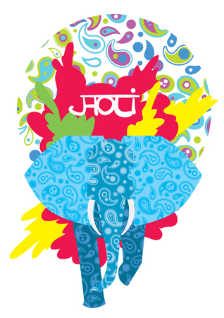dhulandi: Holi festival, vector illustration. The traditional Indian festival. Bengali New Year. Holiday of spring and nature.