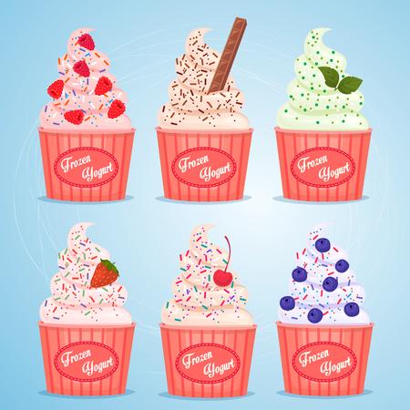 yogur: yogur helado en vaso de papel para llevar. Sabores diferentes. Vectores