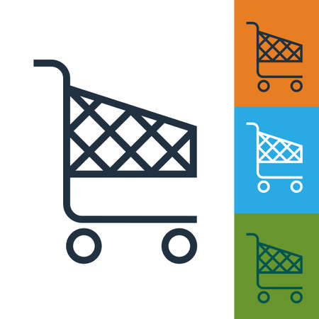 supermarket trolley: Shopping cart icon vector. Isolated supermarket trolley.