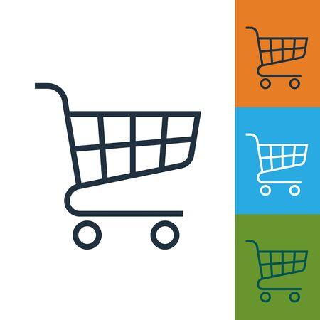 carro supermercado: Cesta de la compra del icono del vector. carro de supermercado aisladas. Vectores