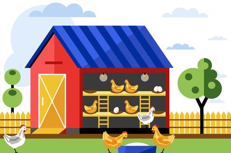 鶏と卵ファーム、ベクトル図です。養鶏場。  イラスト・ベクター素材
