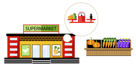 commercial building: Local shop or local supermarket with natural product. Vegetable from farm. Vector illustration.