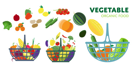 Basket with vegetables, vector illustration. Three different baskets of vegetables from the farm.