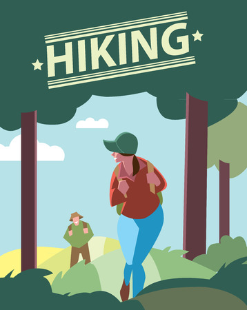 walking path: Creative poster or flyer of backpackers hiking on the path of mountain. Hikers walking, outdoor camping.