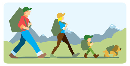 Family going to the mountain with backpacks. Family travelers, active forms of recreation, hiking, adventures. On the background of mountains with snow-capped peaks.