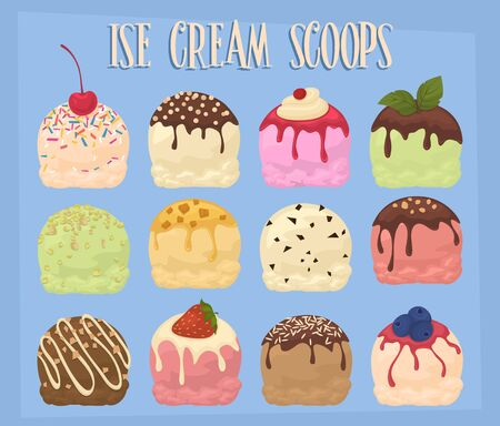 creme: Ice cream scoops collection, vector illustration. Chocolate, pistachio, strawberry, caramel and other flavors of ice cream. Illustration