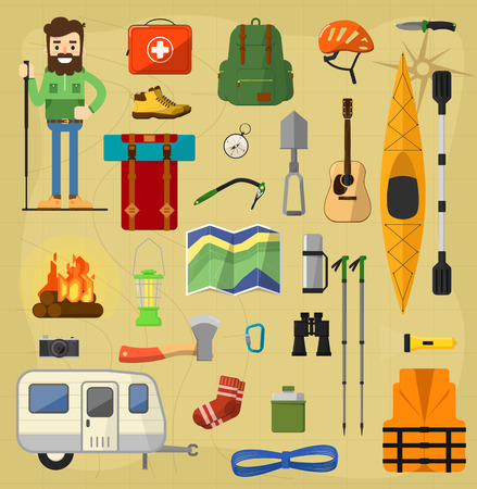 hiking trail: Objects for camping. Camping icons, vector symbols relaxing outdoors. Camping equipment symbols. Backpack, trailer, kayak, guitar.