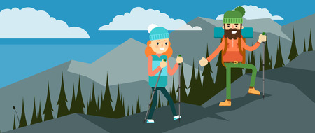 walking path: Backpackers hiking on the path of mountain. Hikers walking, outdoor camping.
