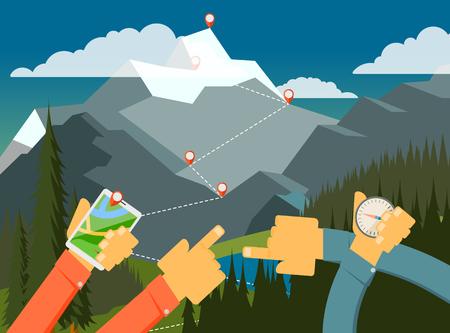人々 は、方法を探している、山の中を歩いて森の中を歩きます。ハイキング、ベクトル イラストです。