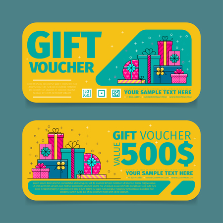 discount tag: Gift voucher template. Back and front side of the coupon. Vector illustration. Illustration
