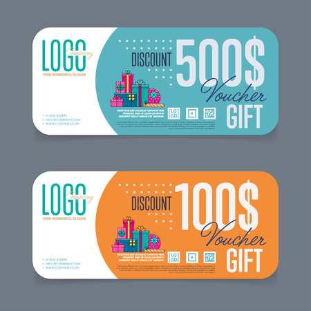 discount card: Gift voucher template. Back and front side of the coupon. Vector illustration. Illustration